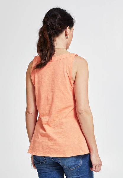 Peach printed cotton maternity & nursing tank top - LOVE MILK