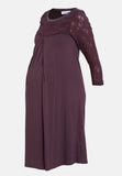 Fig brown lace maternity & nursing dress