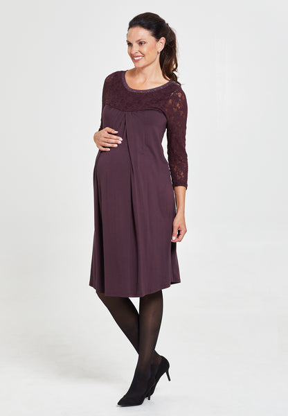 Fig brown lace maternity & nursing dress - LOVE MILK