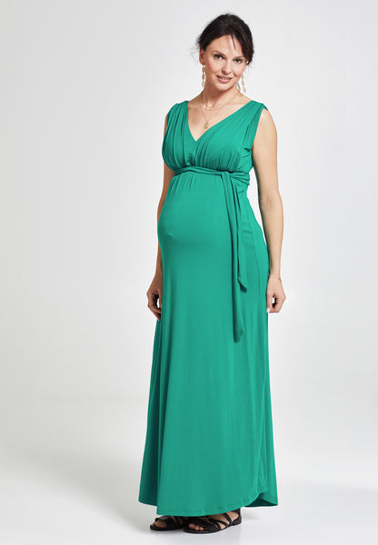 Green maternity & nursing maxi dress - LOVE MILK