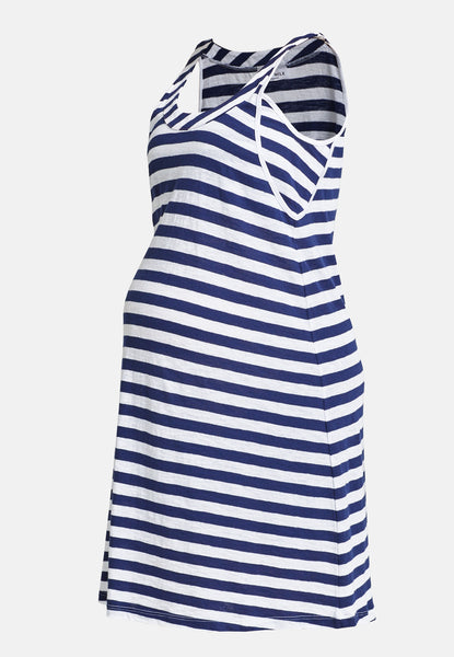 White & navy block stripe maternity & nursing dress - LOVE MILK