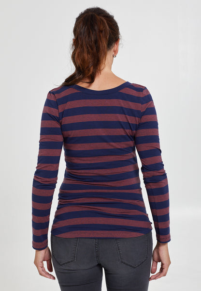 Navy & red striped cotton maternity & nursing top - LOVE MILK