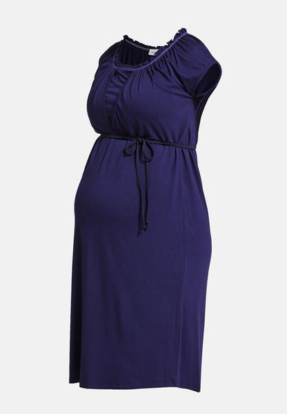 Navy short sleeve maternity & nursing belted dress - LOVE MILK