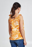 Yellow print sleeveless cotton maternity & nursing top - LOVE MILK