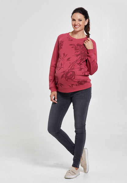 Floral rhubarb red maternity & nursing sweatshirt - LOVE MILK