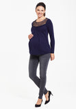 Midnight blue maternity & nursing top with lace - LOVE MILK