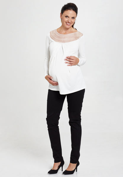 Cream long sleeve maternity & nursing top with lace