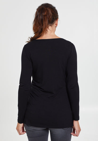 Black v-neck maternity & nursing top