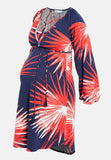 Navy & red printed maternity & nursing dress