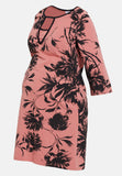 Pink & black floral maternity & nursing dress - LOVE MILK