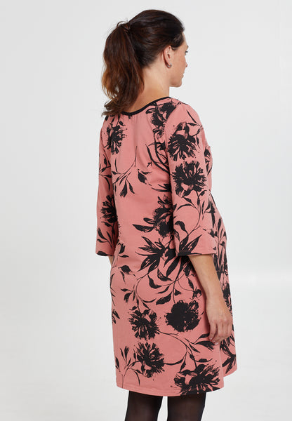 Pink & black floral maternity & nursing dress