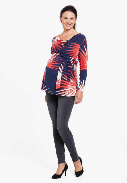 Navy & red printed maternity & nursing top - LOVE MILK