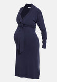 Navy wrap style maternity & nursing dress