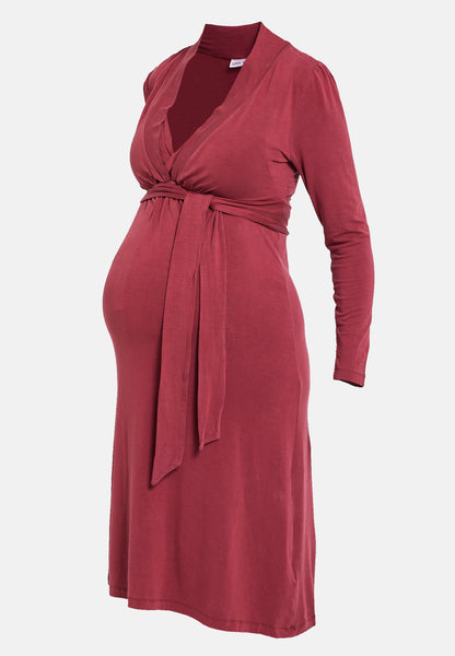 Red wrap style maternity & nursing dress