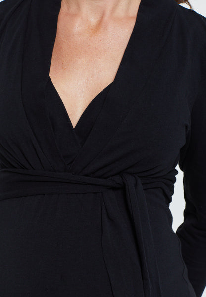 Black cotton maternity & nursing wrap top - LOVE MILK