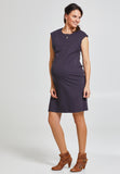 Charcoal grey cotton maternity & nursing shift dress - LOVE MILK