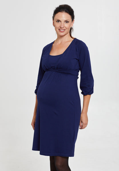 Marine blue cotton maternity & nursing dress