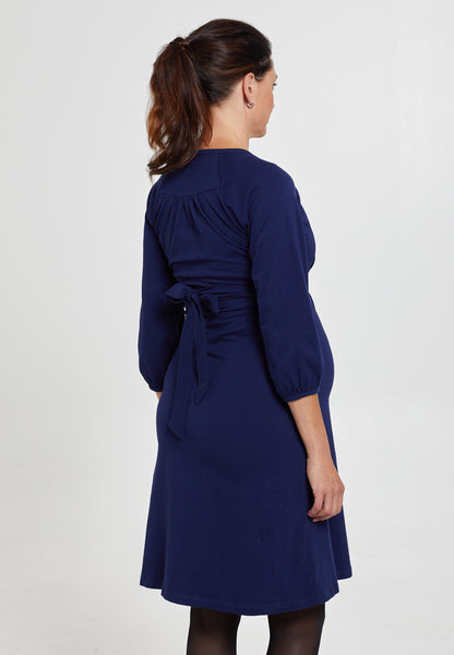 Marine blue cotton maternity & nursing dress - LOVE MILK