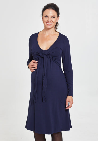 Midnight blue maternity & nursing wrap dress - LOVE MILK
