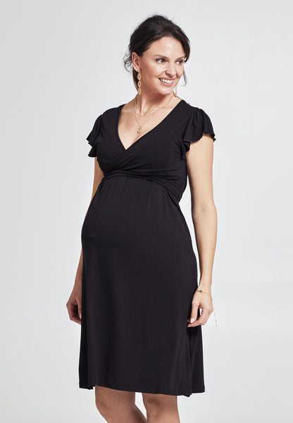 Black short sleeve maternity & nursing wrap dress - LOVE MILK