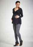 Black cotton maternity & nursing wrap top