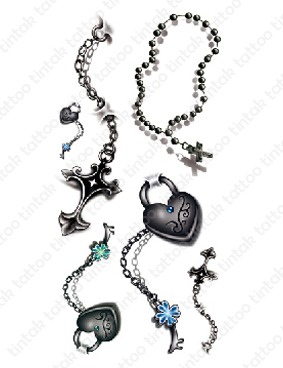 Set of 3D chain and cross temporary tattoo design.