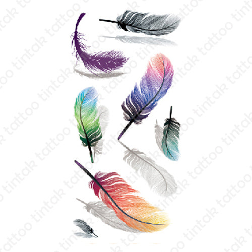 Colored feather temporary tattoo sticker design.