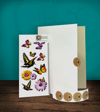 Load image into Gallery viewer, Tintak temporary tattoo sticker with 3D butterfly designs, with its hard board packaging.