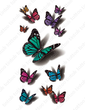 Set of small 3D butterfly temporary tattoo designs in different colors.