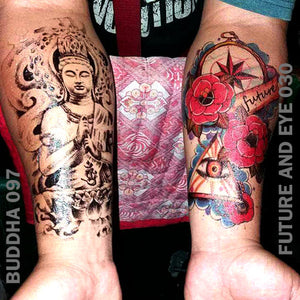 A man's left and right arm, each have temporary tattoos with a Buddha on his right and Future and eye on his left.