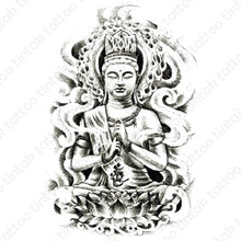 Load image into Gallery viewer, Black and Gray Buddha temporary tattoo design.