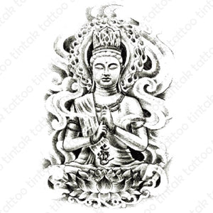 Black and Gray Buddha temporary tattoo design.