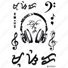 "Load image into Gallery viewer, Music is life temporary tattoo sticker designs with gclef, fclef, and baybayin word (read as ""musika"")."