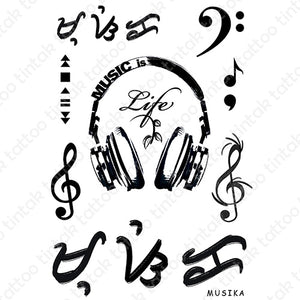 "Music is life temporary tattoo sticker designs with gclef, fclef, and baybayin word (read as ""musika"")."