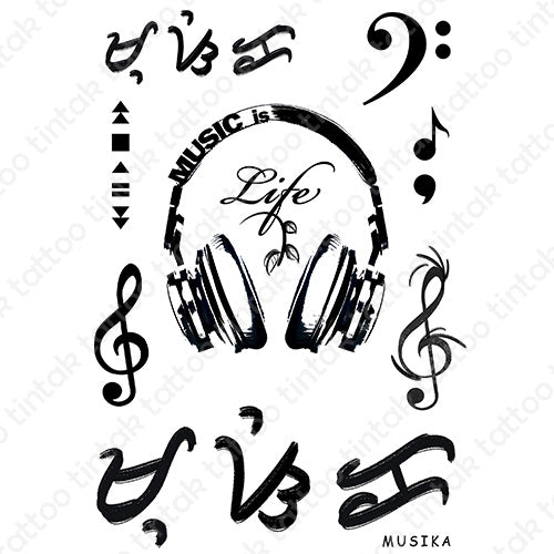 Music is life temporary tattoo sticker designs with gclef, fclef, and baybayin word (read as