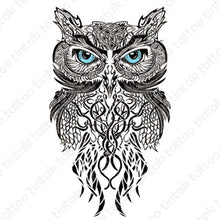 Load image into Gallery viewer, Black and gray owl temporary tattoo sticker in tribal design.