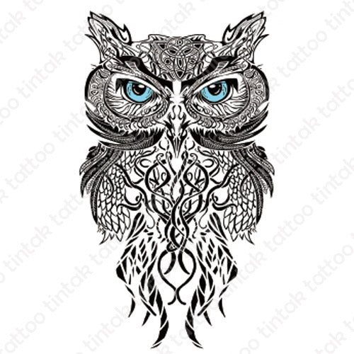 Black and gray owl temporary tattoo sticker in tribal design.