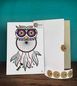 Tintak temporary tattoo sticker with owl dream catcher design, with its hard board packaging.