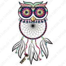 Load image into Gallery viewer, Owl dream catcher temporary tattoo design.