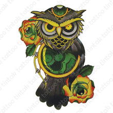 Load image into Gallery viewer, Green owl temporary tattoo sticker design with two roses and a clock.