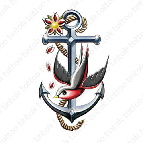 Anchor temporary tattoo design with a rope and a bird.