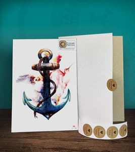 Tintak temporary tattoo sticker with anchor design, with its hard board packaging.