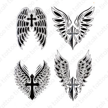 Load image into Gallery viewer, Tintak temporary tattoo design with four variants of cross with wings.
