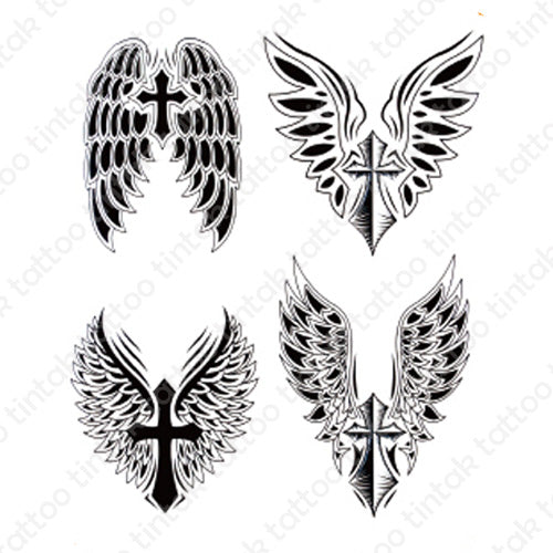 Tintak temporary tattoo design with four variants of cross with wings.