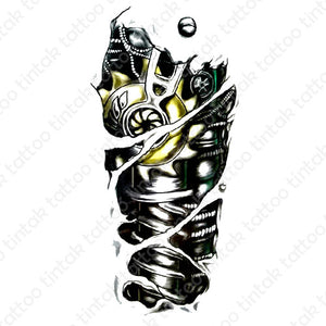 black and gray biomechanical temporary tattoo design with yellow accent on one machine part