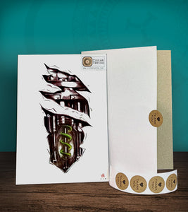 Tintak temporary tattoo sticker with biomech design, with its hard board packaging.