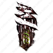 Load image into Gallery viewer, black and gray biomechanical temporary tattoo design with green coil spring