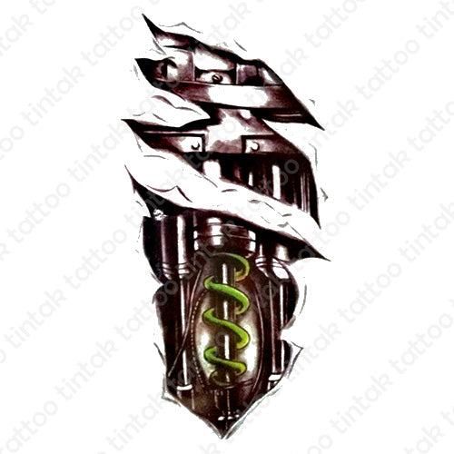 black and gray biomechanical temporary tattoo design with green coil spring