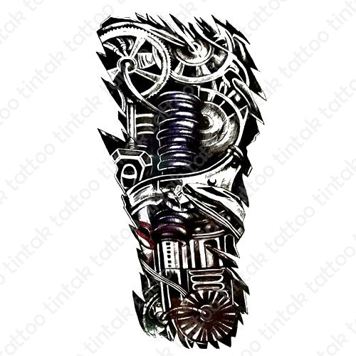 black and gray biomechanical temporary tattoo design with gears and other machine parts