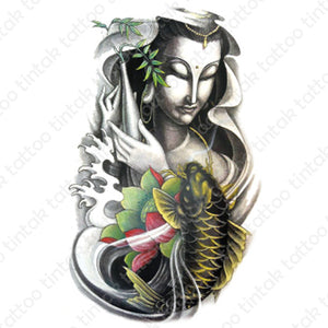 Buddha and Koi Fish sticker temporary tattoo design